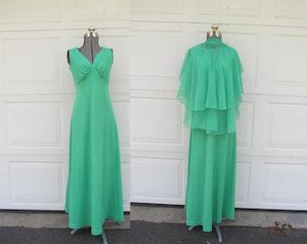 1970s green goddess maxi dress with cape shawl, vintage maxi dress, matching cape, XS/S