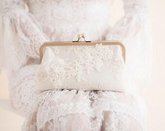 SALE - Bridal Clutch, Floral Clutch, Ivory Wedding Clutch, Bridesmaid Clutch, Evening Clutch, C019, Ready to ship, Last one