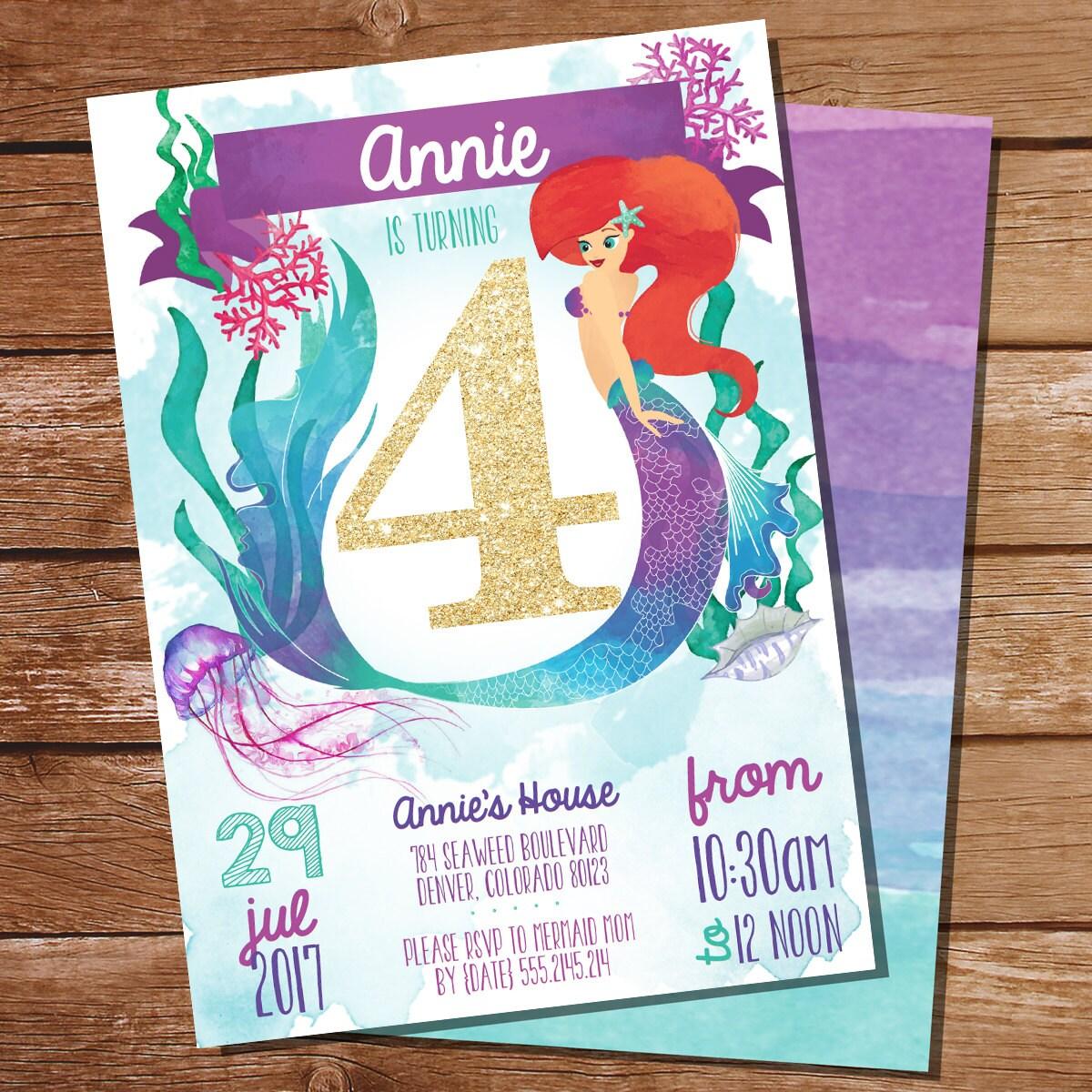 Mermaid/Under The Sea 4th Birthday Party Invitation