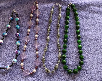 CLOSEOUT!!! Beautiful 16'' 18'' Glass Bead Necklaces- Pink Blue Green Black Glass Acylic Beads HANDMADE- CLEARANCE!! Pick one!