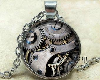 Steampunk clock pendant, steampunk gears necklace, steampunk clockwork jewelry, steampunk pendant, Pendant#HG169P