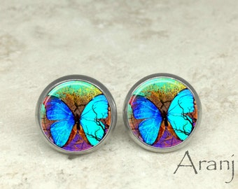 Blue butterfly earrings, butterfly earrings, butterfly jewelry, butterfly stud earrings AN220E
