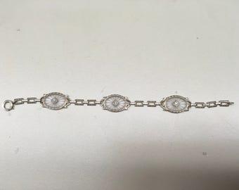 Vintage camphor glass bracelet with 3 framed ovals with diamond Centers Gorgeous EDWARDIAN BRACELET