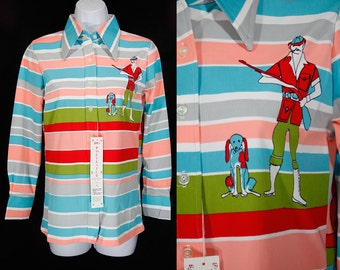 Vintage 70's Deadstock Novelty 100% Polyester Blouse S