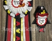 NEW Mickey Mouse Themed Mommy snd Daddy To Be Corsage Set