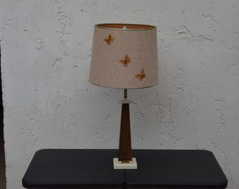 MCM Deco Teak Lamp w/ Original Butterfly Shade