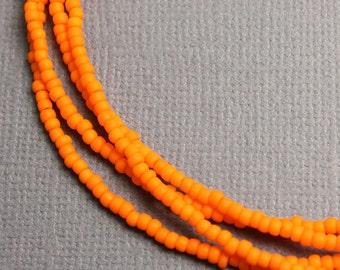 Orange Seed Bead Necklaces, Orange Beaded Necklaces, Orange Layering Necklaces, Orange Necklace, Single Strand Orange Necklace