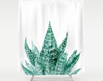 Succulent Shower Curtain, cactus shower, cactus curtain, white shower curtain, succulent shower, succulent curtain, succulent bathroom