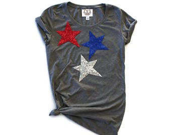 SEQUIN Star T Shirt. July 4th Shirt. Stars and Stripes. Sequin 4th of July Shirt. America Tee. USA Tank Top. Red White Blue. USA Tee T Shirt