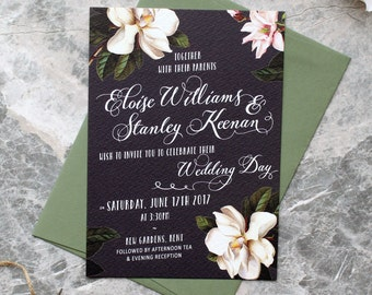 Black Magnolia Botanical Wedding Invitation
