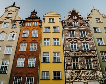Travel Photography, Poland Photography, Row Housing, Colorful Prints, Gdansk Images, Fine Art Photography, Bright Prints, Large Wall Art