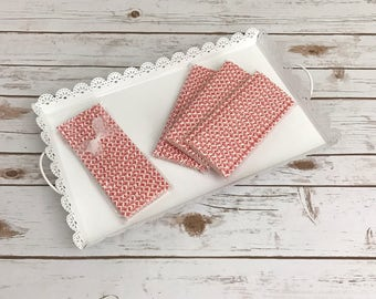 Red Damask Paper Straws / Cake Pop Sticks - 25 Pieces