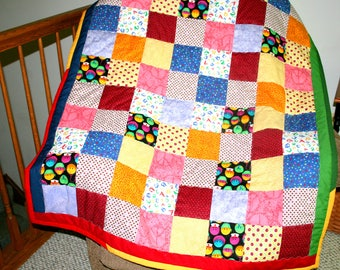 Scrappy Child Quilt, 41 x 51 inches, Crib Quilt, Nursery Quilt, Toddler Quilt, Baby Gift, Patchwork Quilt
