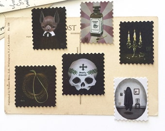 Sticker pack #1, artistamps, faux postage, creepy goth stickers, bat, candle, skull, ghost, pop surrealism, stationery, scrapbooking