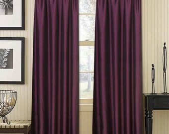 "FREE UK Shipping, PurpleThermal Blackout Taffeta Silk curtains, Vintage Silk Look curtain panels 55"" wide x 84"" drop (140cm x 213cm)"