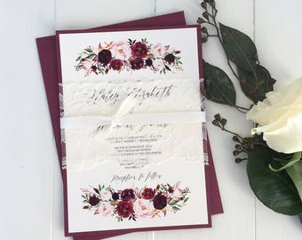 Bohemian Marsala Wedding Invitation, Elegant Wedding Invitation, Lace Wedding Invitation, Fall Wedding Invitation, Blush, Marsala, Vintage