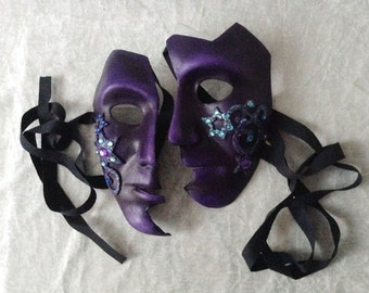Couple mask: 'Purple fantasy' ( smaler mask with curls and stars and rhinestones) - handmade, artistic, traditional mask