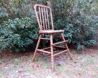 Jenny Lind high chair,Wooden Child's High Chair, Wooden Children's Seat,  Quaint Chair, Primitive High Chair, Wood PRIMITIVE child's High Ch