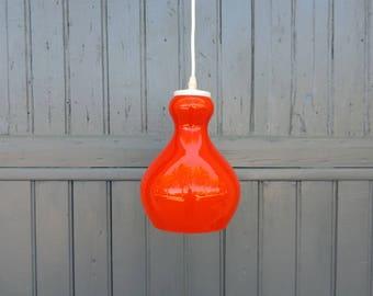 Classic 1970s, red milk glass ceiling light, sputnik pendant light, atomic lampshade, vintage french Mad Men retro interior design