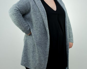 Bridgit  - cardigan light gray or dark gray, long sleeves sweater,size XL-3XL