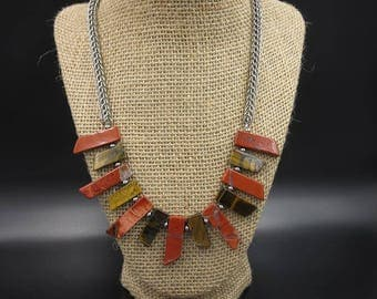 Tigers eye and Red Japser Stainless Steel Chainamille Necklace