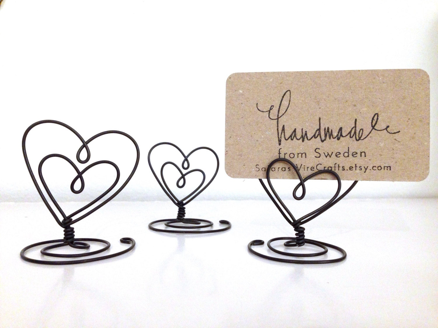 10 Wire Holder Heart Shaped Table Number Card stand NameCard and ...