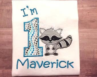 Personalized birthday shirt racoon animal forest
