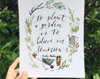 Garden painting, Audrey Hepburn quote, garden print