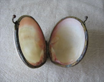 Antique Clam Shell Trinket Case, Delicate Rose Pink & White Swirl, Hinged Jewelry Holder