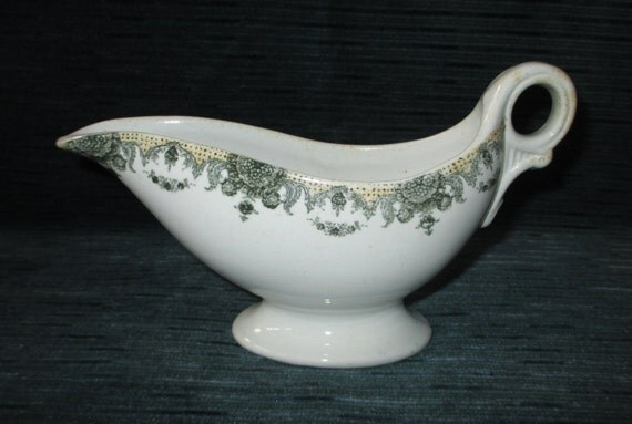 Antique 1890 Maddock Vitrified China Gravy Boat for Burley & Co. Chicago, Victorian Restaurantware