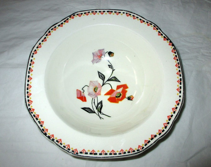WH Grindley THE PATRICIA Cereal Soup Bowl, Art Deco Cubist Floral Windsor Ivory (early 1930s)