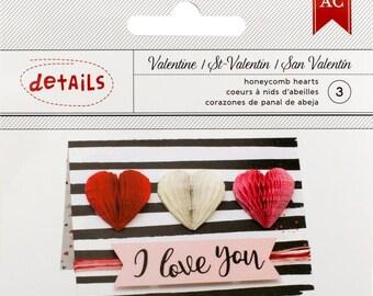 American Crafts Honeycomb Hearts Valentines