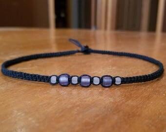 Tween Jewelry for Girls Choker Black Choker Necklace Purple Bead Necklace Gift Tween Girl Gifts for Girls Necklace Hemp Choker Womens Choker