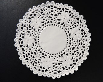"9.5"" and 10.5"" WHITE Crochet PAPER Lace DOILIES 