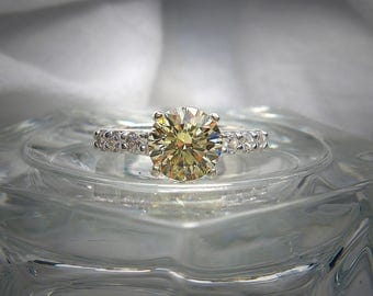 Light Canary Yellow Precision Faceted 8mm Round Brilliant with White Cubic Zirconia Stones Sterling Silver Ring Size 7
