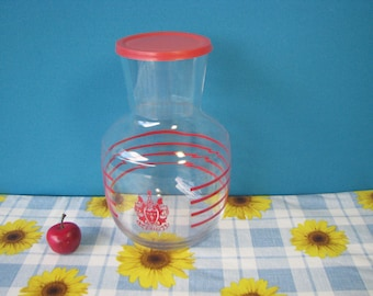 Mid Century Libbey Gibson Juice Carafe - Red Stripe - 1 Quart With Lid -  Vintage 1960's