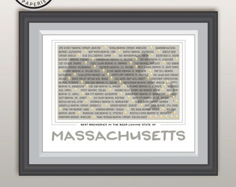 Massachusetts Breweries List, Unique Beer Lover gift, Custom Breweries Wall Print , Breweries Art Print, Breweries in Massachusetts Gift