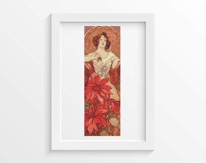 Cross Stitch Pattern PDF, Embroidery Chart, Art Cross Stitch, Woman Cross Stitch, Ruby by Alphonse Mucha (MUCHA17)