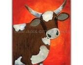 "Cow art, Farm nursery art, Archival print, 5 x 7"", Farm animal collage, Brown cow collage, Whimsical cow art, Cow kitchen art, Farm decor"