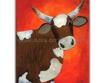 "Cow art print, 5 x 7"" Farm nursery art,  Acrylic farm animal collage, Brown cow painting print, Southwestern decor, Farm kitchen decor"