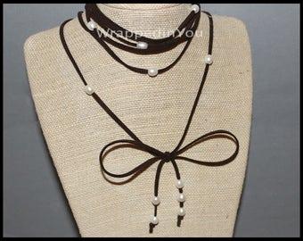 "FLASH Sale Freshwater Pearl Rice Multi Wrap Lariat Necklace Anklet Bracelet - 90"" Extra Long Adjustable Cord Boho Jewelry - USA 118"