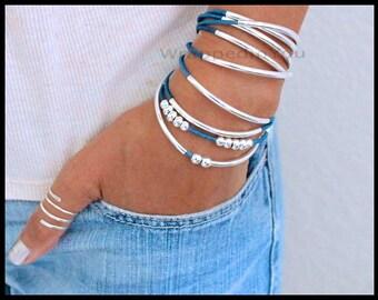BOHO Leather Wrap Bracelet - Adjustable Cascading Floating Silver Tubes Beads Triple Wrap Beaded Stackable Bangle Bracelet - USA - 769