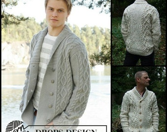 Hand knitted mens collared jacket cardigan in aran style with cables and shawl collar - mens knitted clothes - mens clothing - made to order