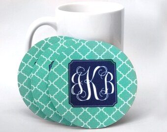 Monogrammed Fuzzy Coaster Set of 4 • Personalized Felt Coasters