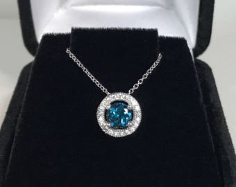 """BEAUTIFUL 1.2ct London Blue Topaz & White Sapphire Sterling Silver Pendant Necklace 18"""" Trending Jewelry Gift December Mom Wife Sister Fianc"""