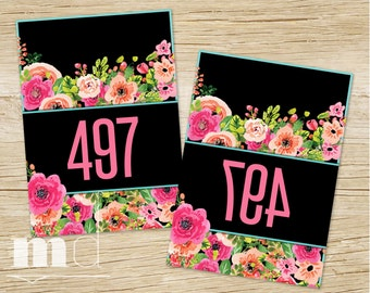 Mirrored Live Sale Tags, Agnes & Dora Hanger Numbers Facebook Live Sales, 1-500 normal / mirrored, Mirror Image Black Floral Tags PRINTABLE