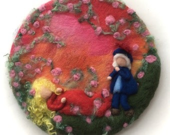 Sleeping beauty.Picture,tapestry,Wet felted,Needle Felted. Waldorf,Wall hanging.