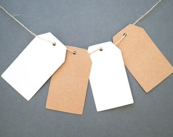 KRAFT GIFT TAG with String - 20 Pack - 4x7cm - Hang/Price/Thank You/Favour Tag, Placecard - Brown or White - Wedding, Birthday, Party Gift