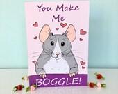 You Make Me Boggle Fancy Rat Illustration Valentines Day Blank Greeting Card Husky Pet Rat Hearts Love 300gsm Card