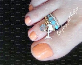 Stacking Toe Ring | Silver Skeleton Fish Charm | Baby Blue Crystal and Opal | Stretch Bead Toe Ring